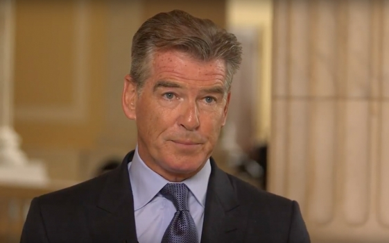 Video still image of Pierce Brosnan from ACS CAN's One Degree Campaign Video
